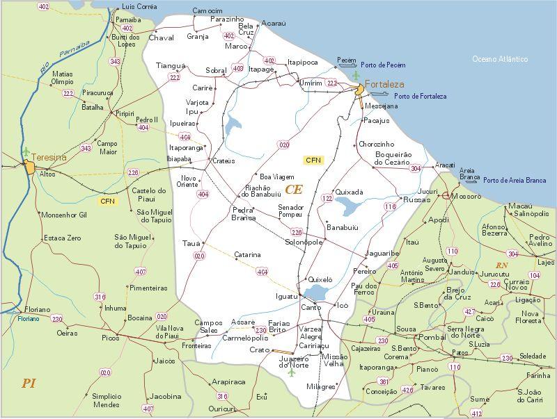 Mapa do Cear e Fortaleza