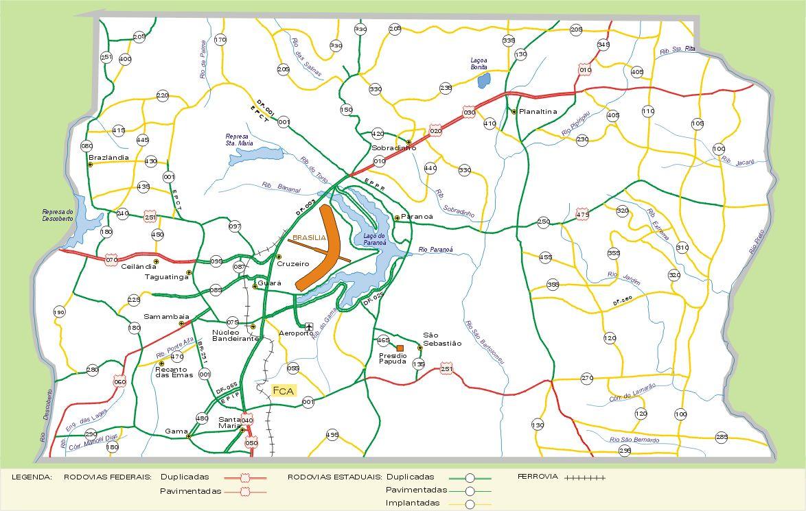 Mapa do Distrito Federal  Braslia DF