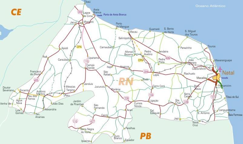 Rio Grande Mapa Fisico.Mapa Do Rio Grande Do Norte